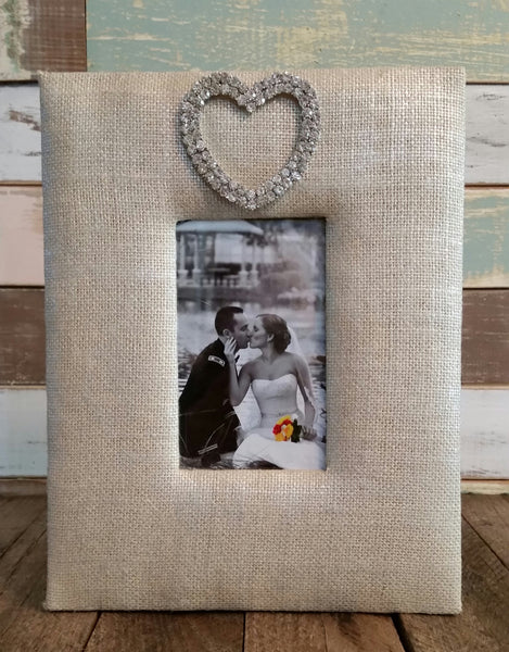 Picture Frame - Burlap & Heart