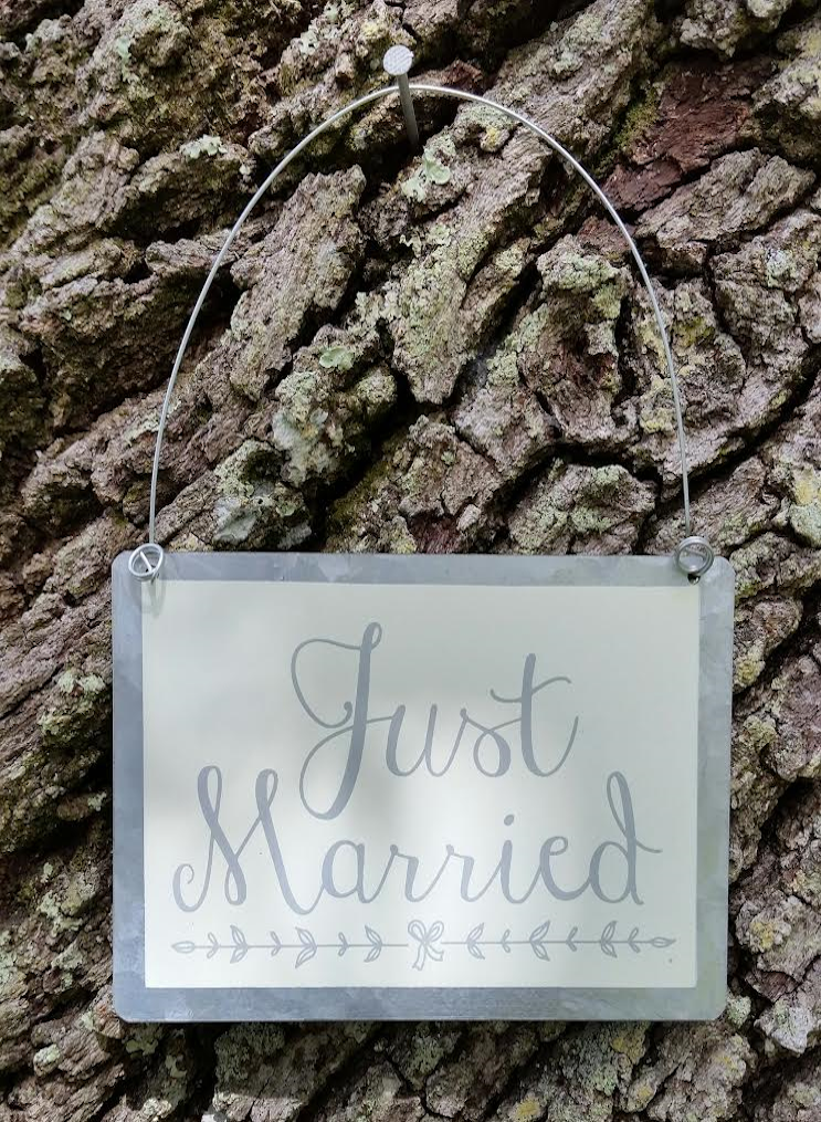 Hanging Tin Ornament - Just Married