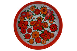 Baret Ware Red Orange Enamel Metal Serving Tray