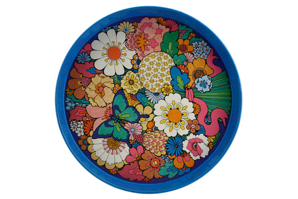 Daisy by Ivan Ripley Blue Flowers Enamel Metal Serving Tray