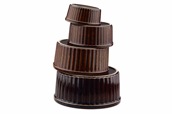 Arabia of Finland Brown Ribbed Casserole Dish Set Souffle Round Baking Dishes