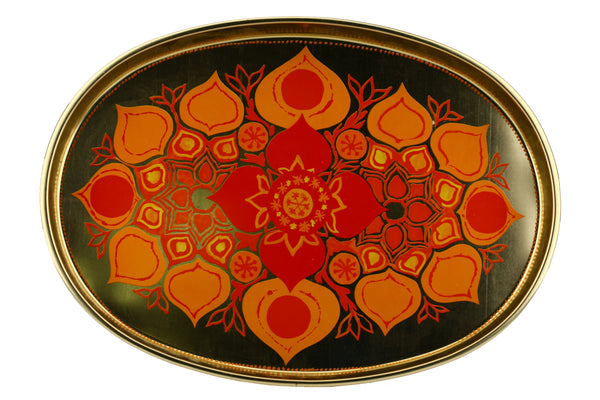 Vintage Orange Red Metal Serving Tray with Flower Print / Graphic Design