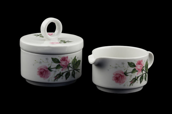 Villeroy and Boch Sugar and Creamer Set Romantic Pink Roses Decor