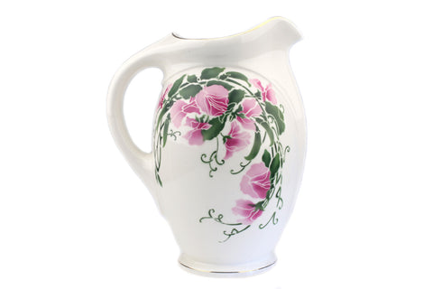 Societe Ceramique Maestricht Pitcher For Wash Basin Hand Painted Flowers.. Made in Holland.. Mid-Century Vintage Kitchen Deco..