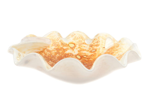 Murano Sommerso Glass Gold Foil Biomorphic Bowl