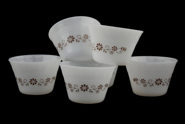 Opaline Milk Glass Ramekins Custard Cups