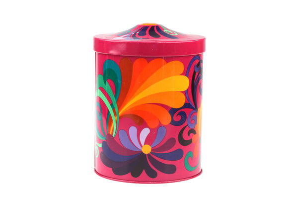 Vintage 1970's Flower Power Pop Art Metal Container / Box / Canister.. Retro Kitchen and Home Organization..