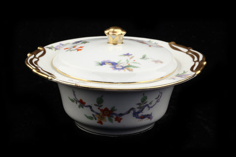 "Limoges French Porcelain L Bernardaud B & Co Limoges Conde ""Bird of Paradise"" Covered Serving Bowl.."