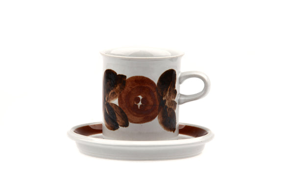 Arabia of Finland Rosmarin Demitasse Coffee Cup and Saucer Stoneware.. Design by Ulla Procopé.. 1960 - 1997.. Mid Century Modern..