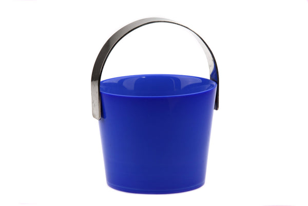 Orrefors Blue Glass and Silver Metal trim Fuga Ice Bucket