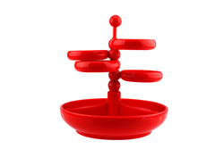 Red Plastic Snack Tray Adjustable Party Etagère W. Germany