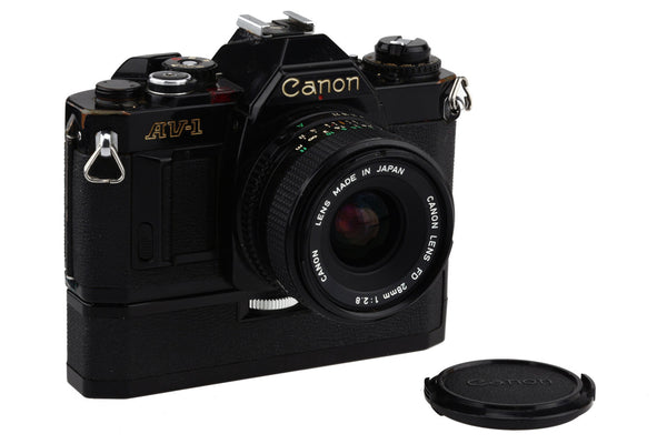 Canon AV-1 35mm Film Camera with Canon FD 28mm 1:2.8 and the Canon Power Winder A  / Fully Working!