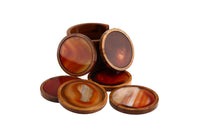 Agate Coasters with Wooden Base and Wooden Holder