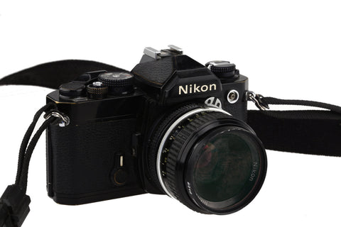 Nikon FM  (Black) With The Panagor PCM 28mm 1:2.8  lens/ Fully Working!