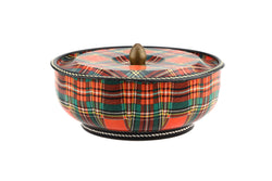 Vintage Retro Metal Tartan Tin Box / Canister / Tin Storage Container /Jewel Box / Retro Wedding..