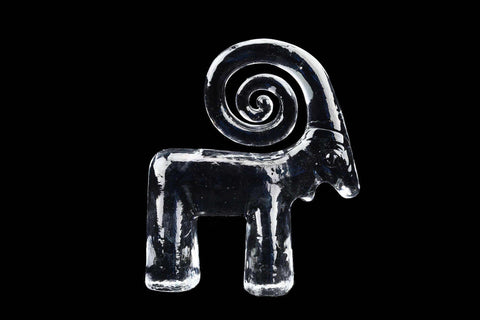 Kosta Boda Crystal Zoo Series Mountain Goat Sculpture Flat Back Figurine