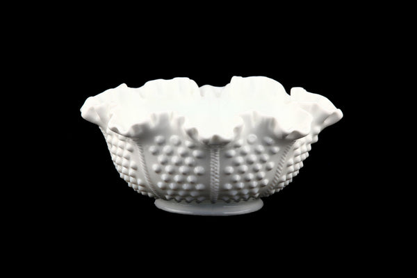 Vintage Fenton Milk Glass Hobnail Design Bowl Ruffled Scalloped Rim