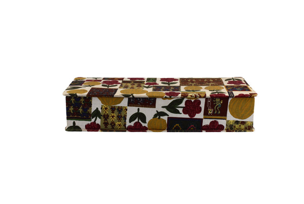French Fabric Covered box Floral Fruit Design Fabric