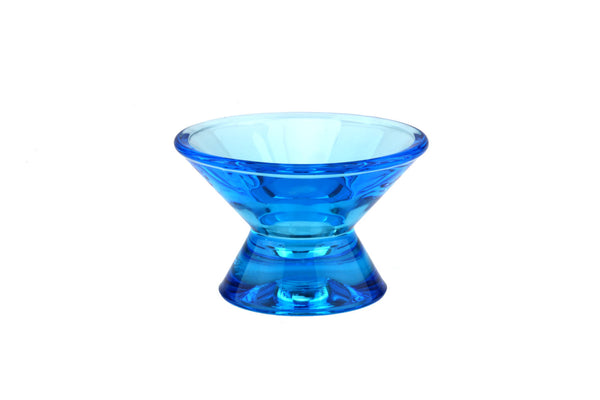 Blue Glass Kartio, Votive Candle Holder.. Made by Iittala of Finland.. Designed by Kaj Franck.. Mid Century Scandinavian Modern Design..