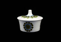 Figgjo Flint Turi Blue Olive Flowers Dots Design Norway Sugar Bowl