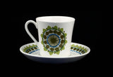 Figgjo Flint Turi Blue Olive Flowers Dots Design Norway Large Cup and Saucer
