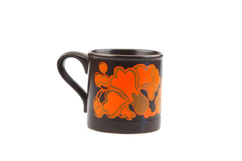Retro Modern Staffordshire Coffee Mug Flower Power Matte Brown Orange Early 70s.. made in England