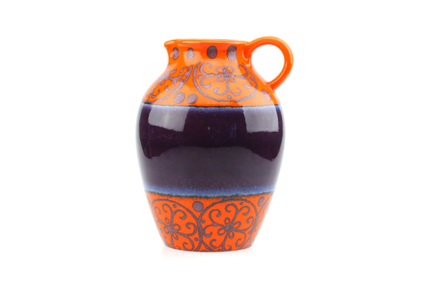 Dumler and Breiden West German Pottery Blue and Orange Vase