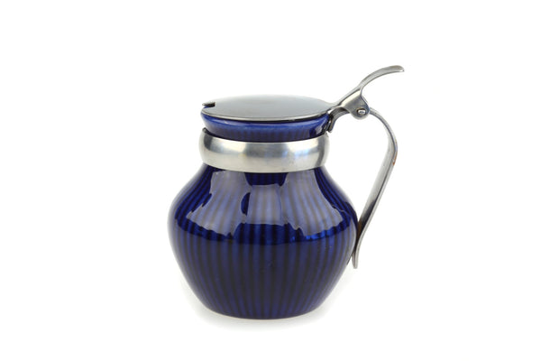 Rörstrand Jam Jar.. Swedish Cobalt Blue Porcelain Mustard Pot