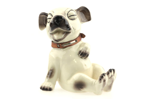 Vintage Cute Dog Figurine with Leather Collar..