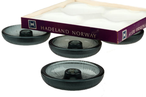 Hadeland Scandinavian Set of 4 Smoked Glass Candle Holders