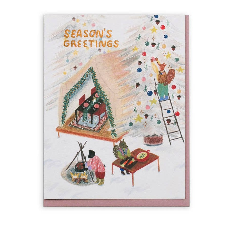 Holiday Tent Party Card