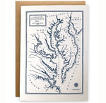 Chesapeake Bay Map Greeting Card