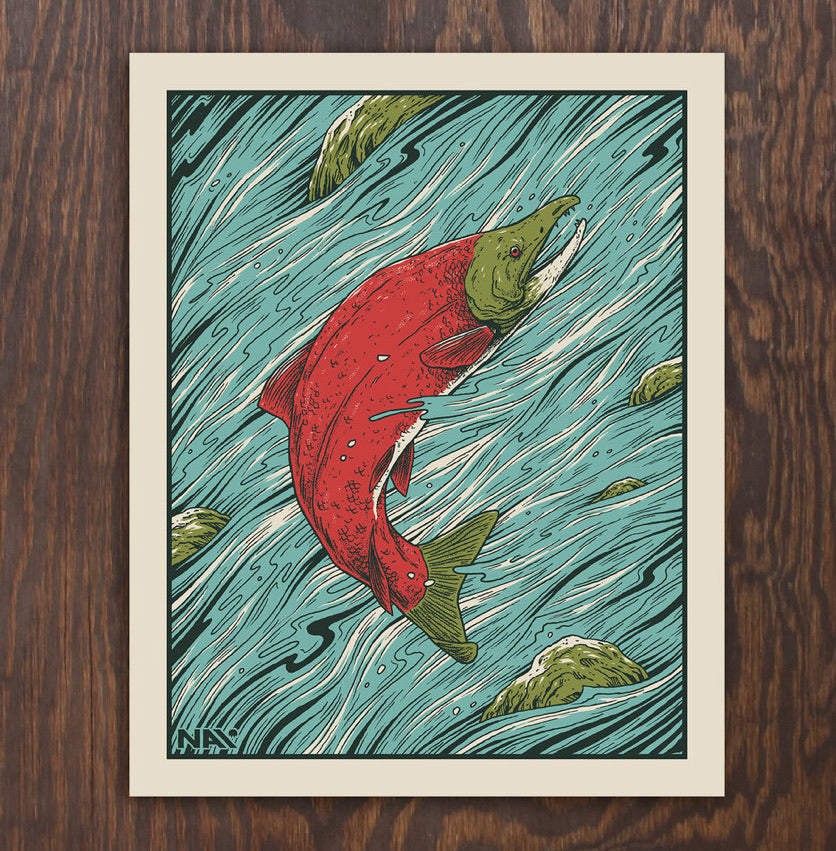 Salmon Screen Print