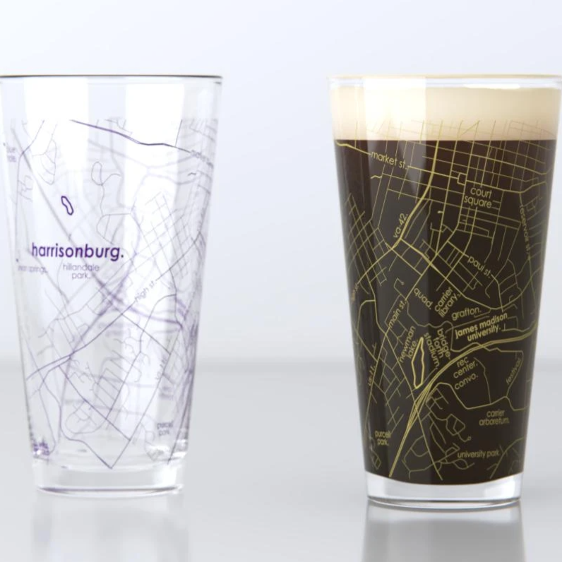 Harrisonburg Map Pint Glass Set