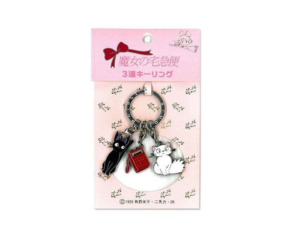 Kiki's Delivery Service Triple Keychain: Cats and Radio