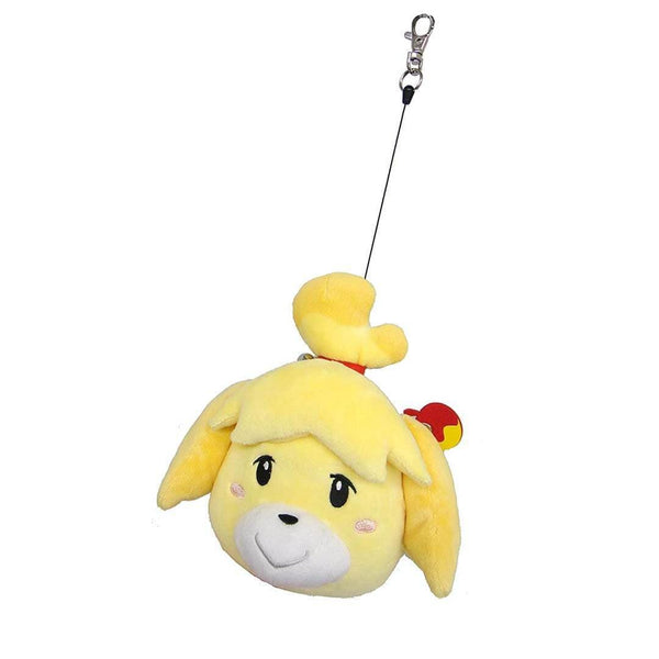 Animal Crossing Isabelle yellow dog plushie with extending reel white background