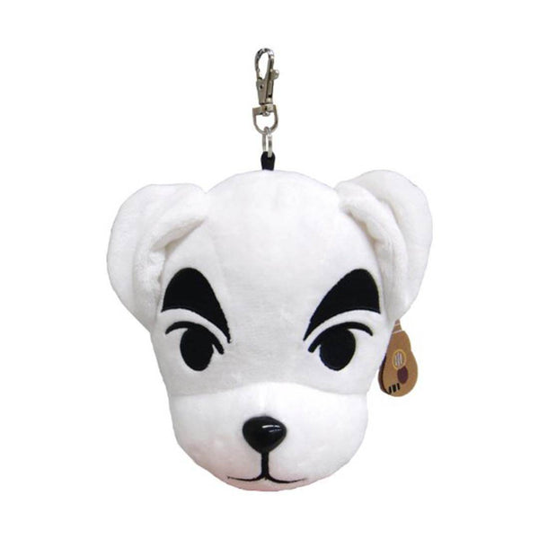 Animal Crossing KK Slider white dog plushie with extending reel, small guitar and white background