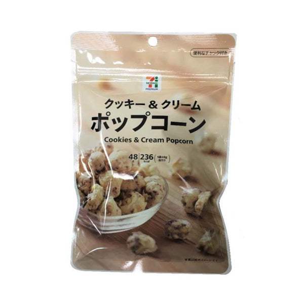 7 eleven cookies and cream popcorn in white background