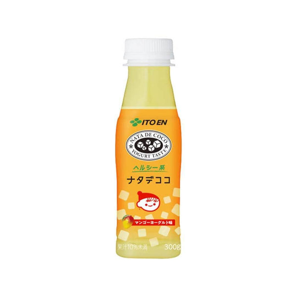 itoen nata de coco yogurt taste mango yellow coconut white background