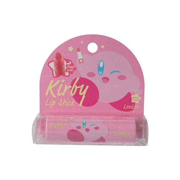 kirby x lovisia make-up collaboration lipstick beige pink nintendo character in white background