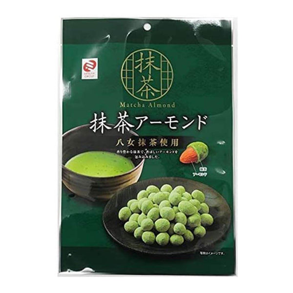 matcha chocolate covered almonds thick matcha in green plastic white background