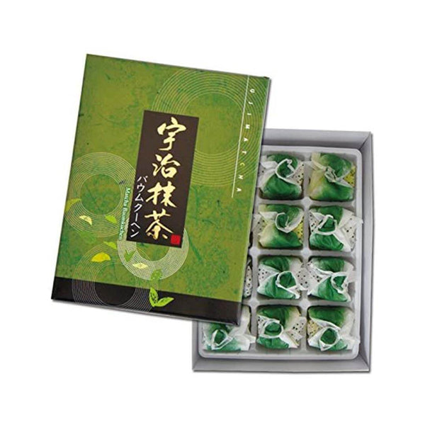 uji matcha cream baumkuchen cake in elegand green brown box white background