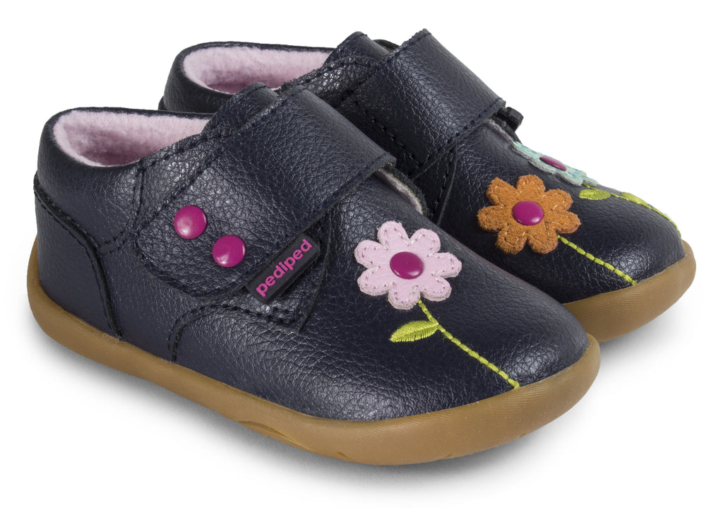 Pediped Aryanna Girls Navy Leather Shoe