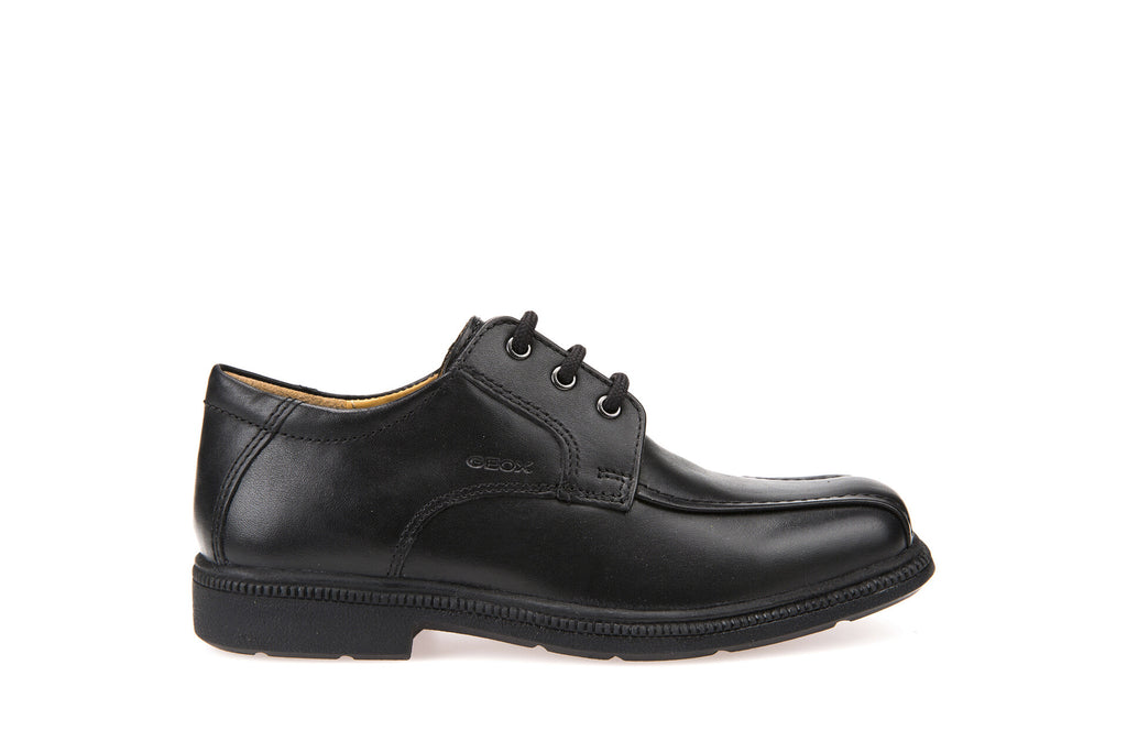 Geox Federico Boys Black Leather Lace Up School Shoe
