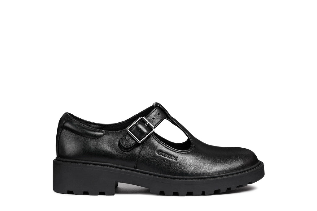 Geox Casey Black Leather Girls School Shoe