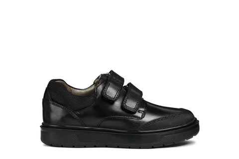 Geox Riddock Boys Black Leather School Shoe with Toe Bumper