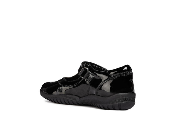 Geox Shadow T Bar Patent Girls School Shoe