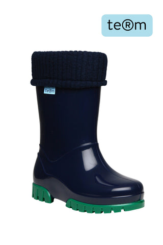Term Wellies Navy & Green