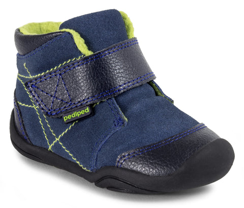 Pediped Troy Boys Navy Leather/Suede Boot