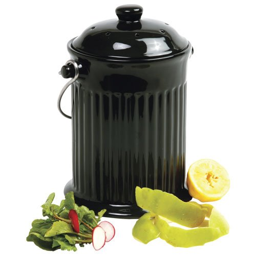 Black Ceramic Compost Keeper - Compostio